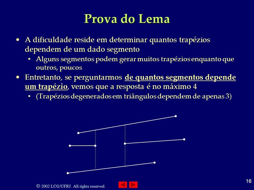 Prova do Lema A dificuldade reside em determinar quantos trapézios dependem de um dado segmento.