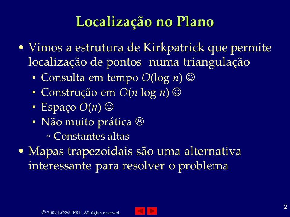 Localização no Plano Vimos a estrutura de Kirkpatrick que permite localização de pontos numa triangulação.