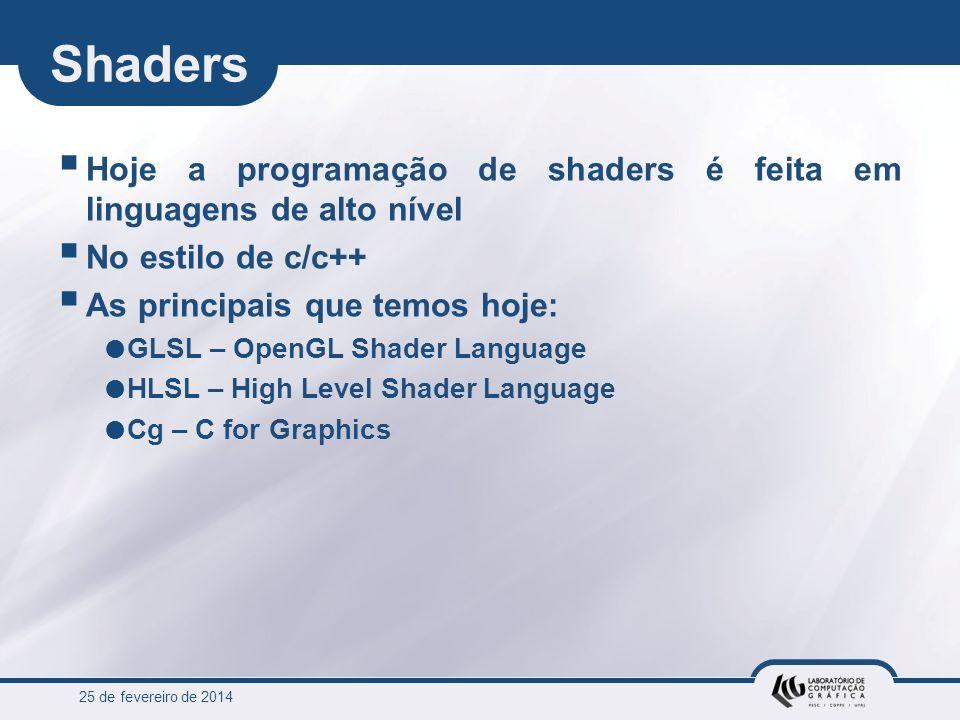Shaders Hoje a programação de shaders é feita em linguagens de alto nível. No estilo de c/c++ As principais que temos hoje:
