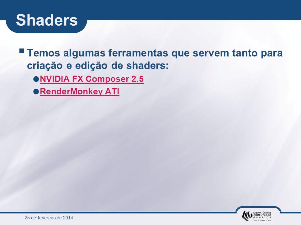 Shaders Temos algumas ferramentas que servem tanto para criação e edição de shaders: NVIDIA FX Composer 2.5.
