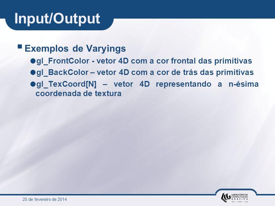 Input/Output Exemplos de Varyings