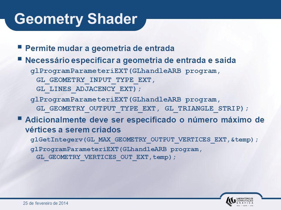 Geometry Shader Permite mudar a geometria de entrada