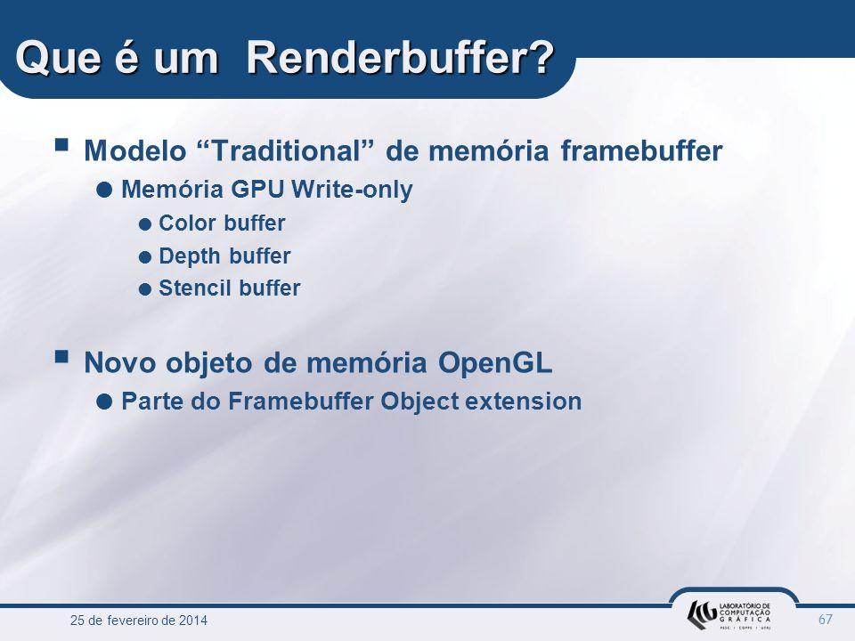 Que é um Renderbuffer Modelo Traditional de memória framebuffer
