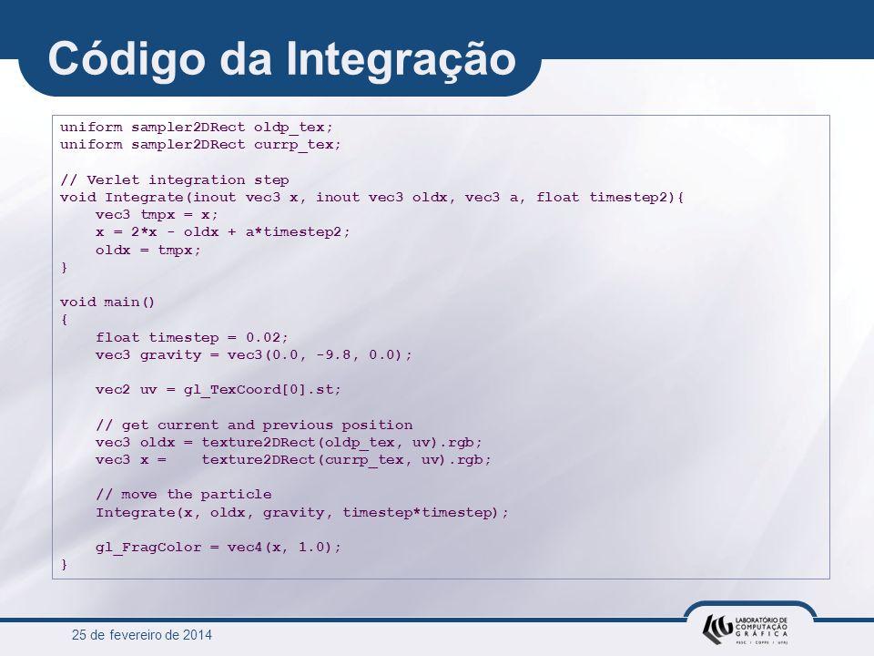 Código da Integração uniform sampler2DRect oldp_tex;