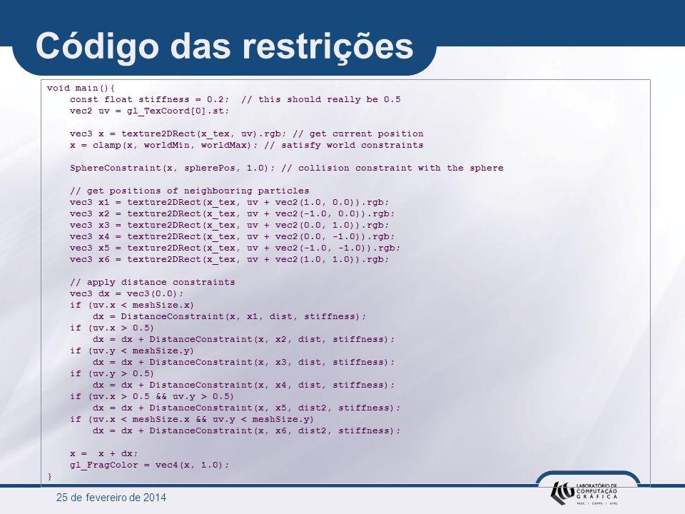 Código das restrições 25 de março de 2017 void main(){