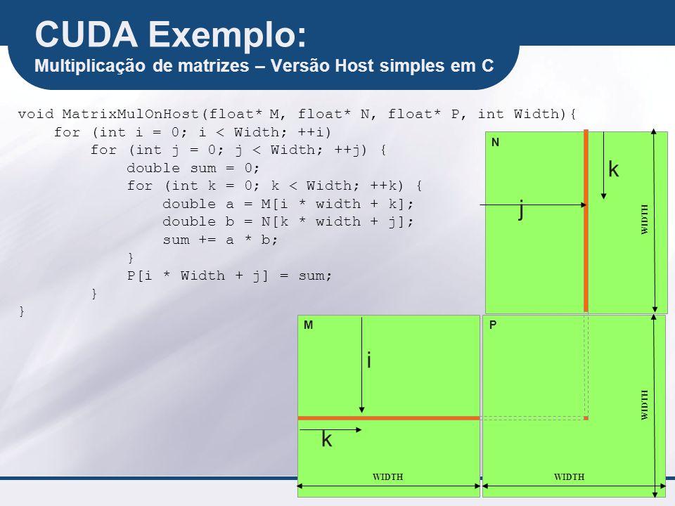 CUDA Exemplo: Multiplicação de matrizes – Versão Host simples em C