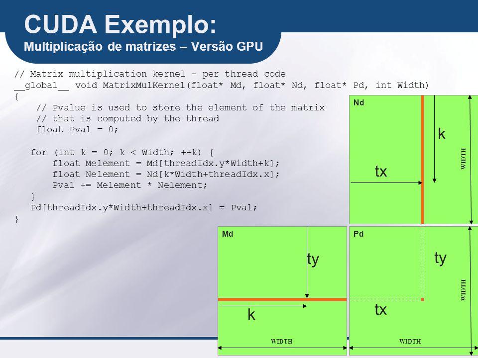 CUDA Exemplo: Multiplicação de matrizes – Versão GPU