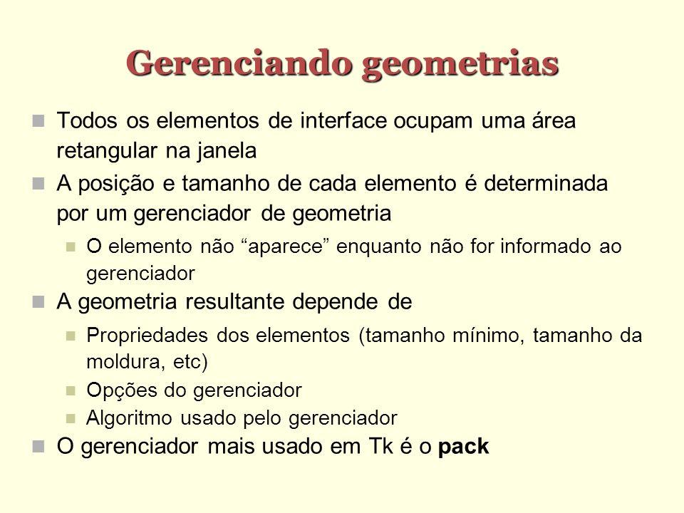 Gerenciando geometrias