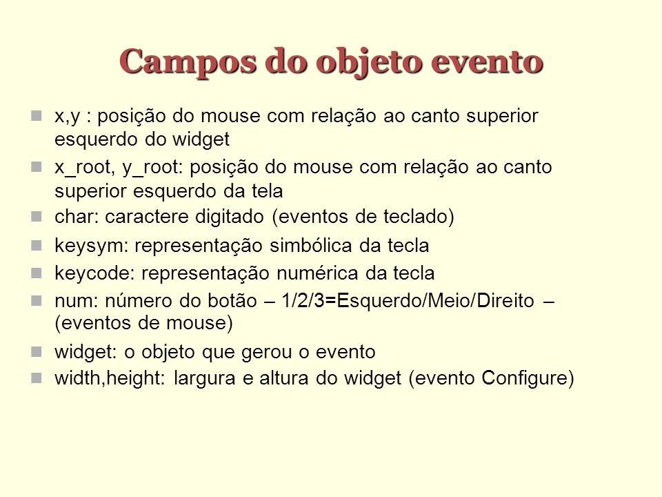 Campos do objeto evento