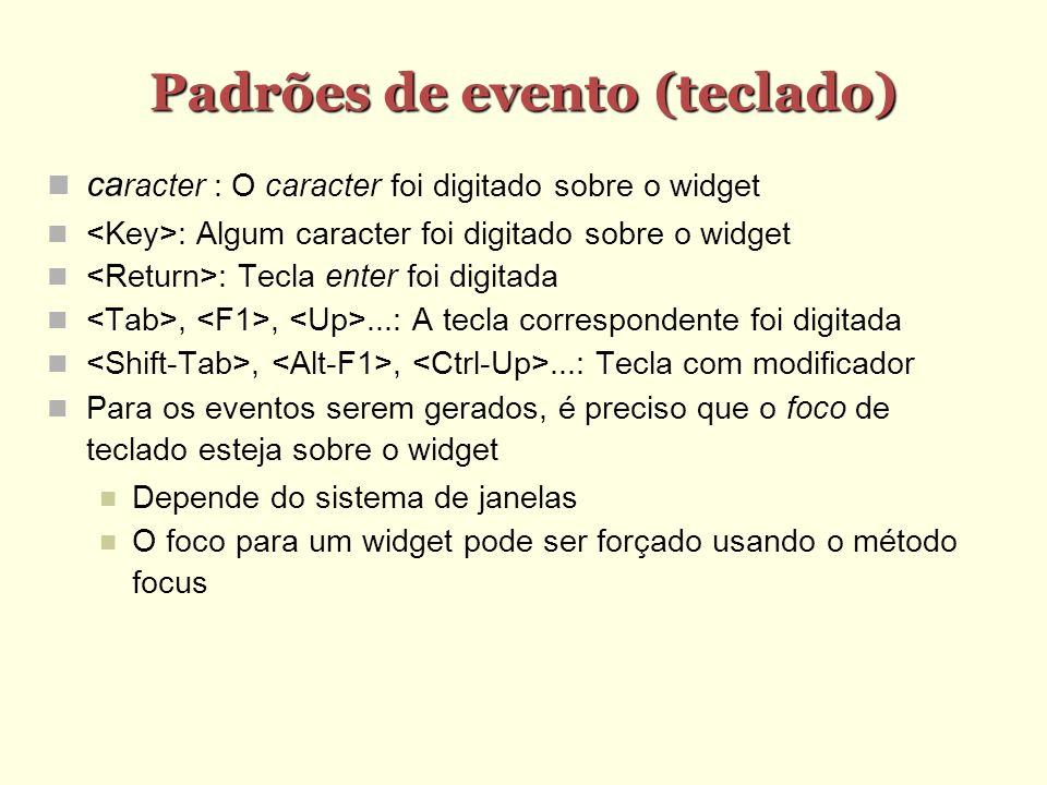 Padrões de evento (teclado)