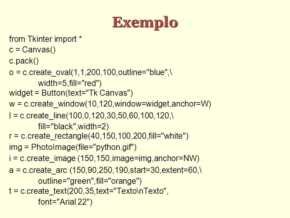 Exemplo from Tkinter import * c = Canvas()‏ c.pack()‏