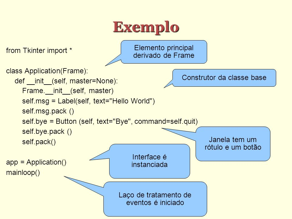 Exemplo Elemento principal derivado de Frame from Tkinter import *