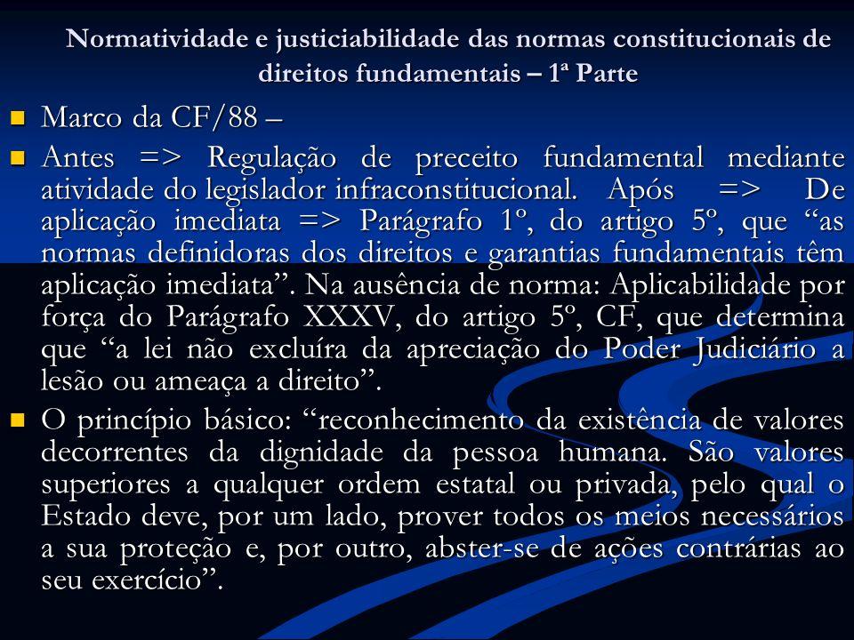 Normatividade e justiciabilidade das normas constitucionais de direitos fundamentais – 1ª Parte
