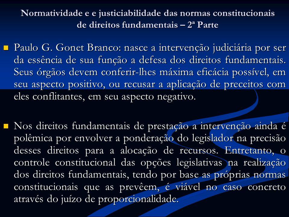 Normatividade e e justiciabilidade das normas constitucionais de direitos fundamentais – 2ª Parte