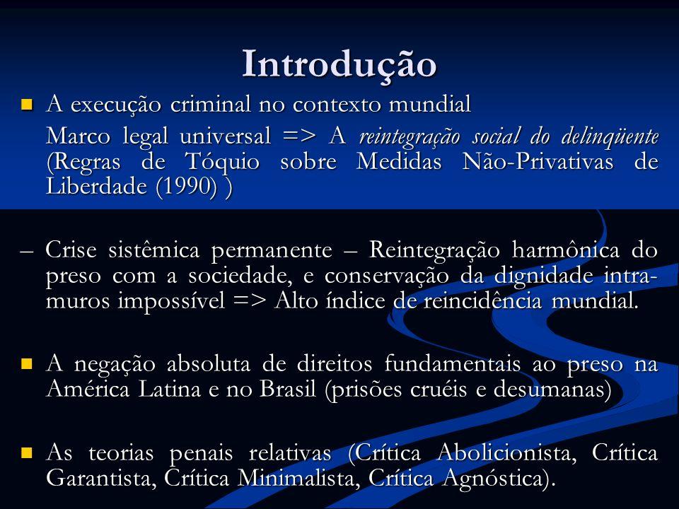 Introdução A execução criminal no contexto mundial