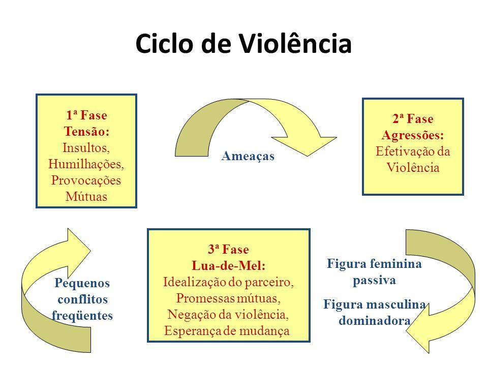 Ciclo de Violência 1ª Fase 2ª Fase Tensão: Agressões: Insultos,