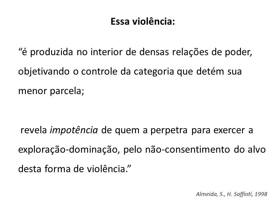 Essa violência: é produzida no interior de densas relações de poder, objetivando o controle da categoria que detém sua menor parcela;