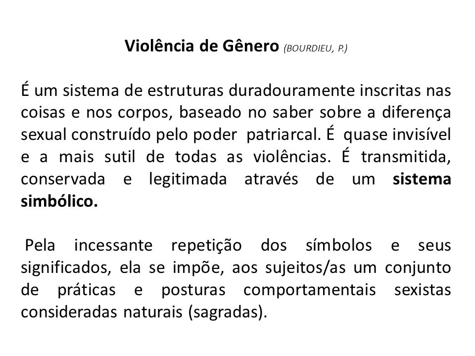 Violência de Gênero (BOURDIEU, P.)