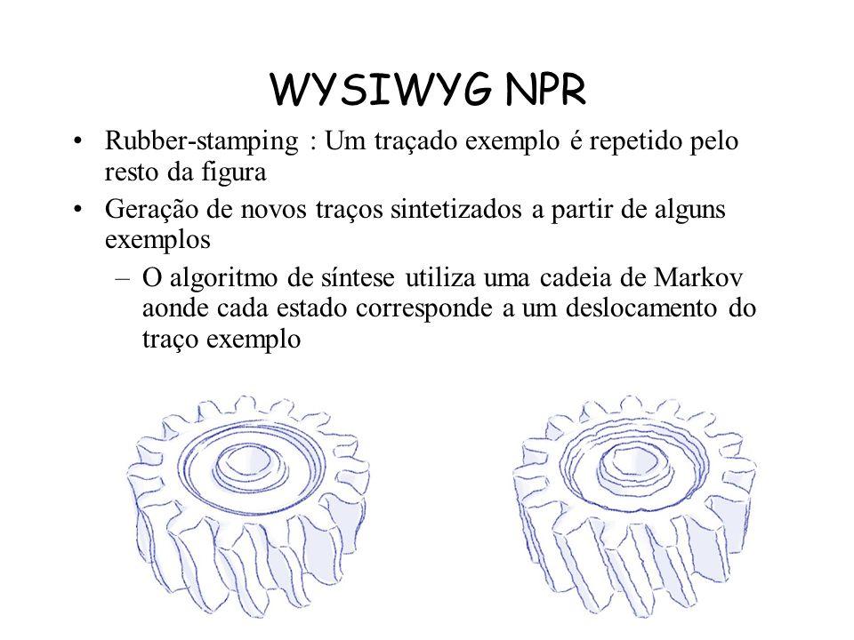 WYSIWYG NPR Rubber-stamping : Um traçado exemplo é repetido pelo resto da figura. Geração de novos traços sintetizados a partir de alguns exemplos.