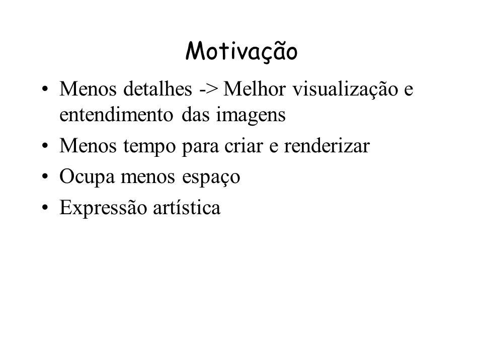 Motivação Menos detalhes -> Melhor visualização e entendimento das imagens. Menos tempo para criar e renderizar.