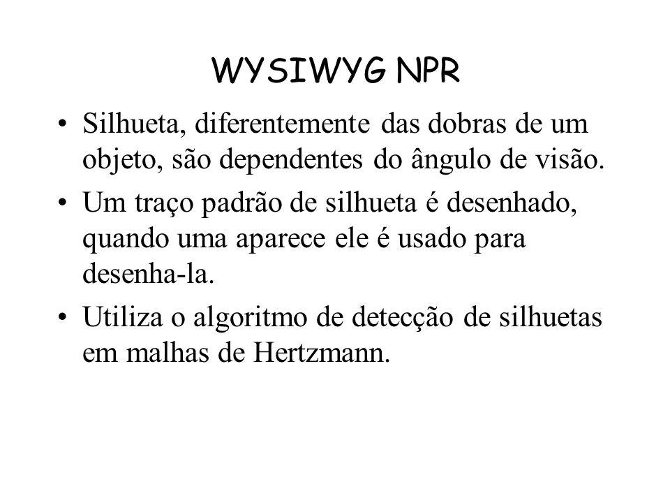 WYSIWYG NPR Silhueta, diferentemente das dobras de um objeto, são dependentes do ângulo de visão.