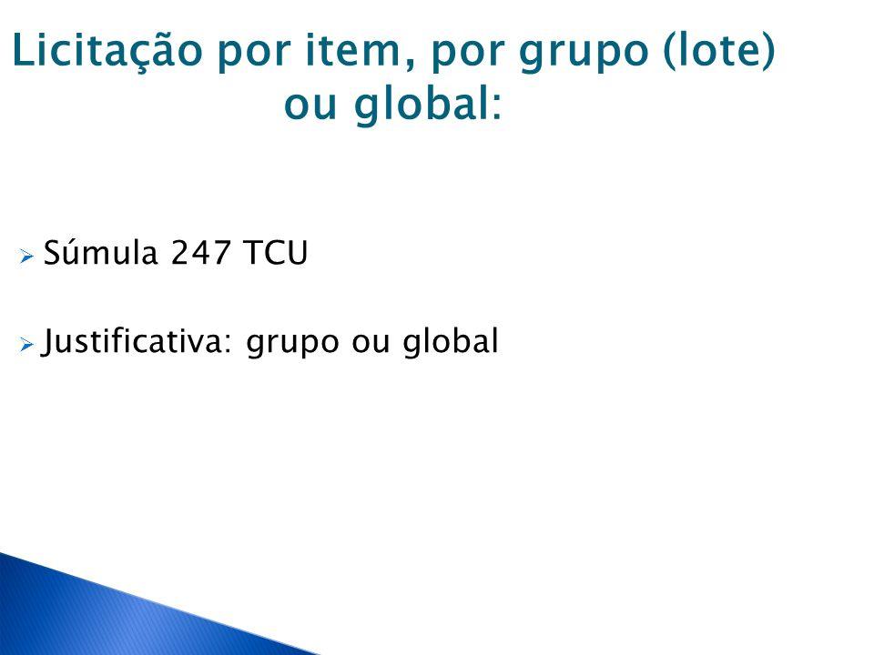 Licitação por item, por grupo (lote) ou global: