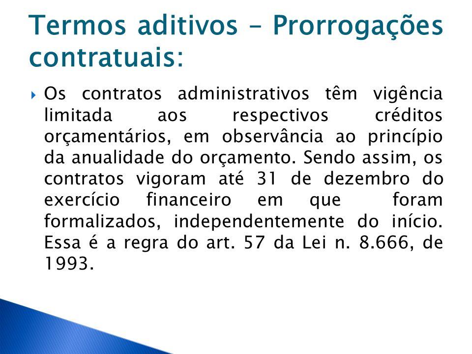 Termos aditivos – Prorrogações contratuais: