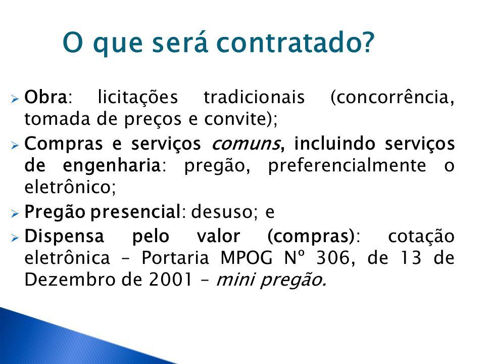 O que será contratado Obra: licitações tradicionais (concorrência, tomada de preços e convite);