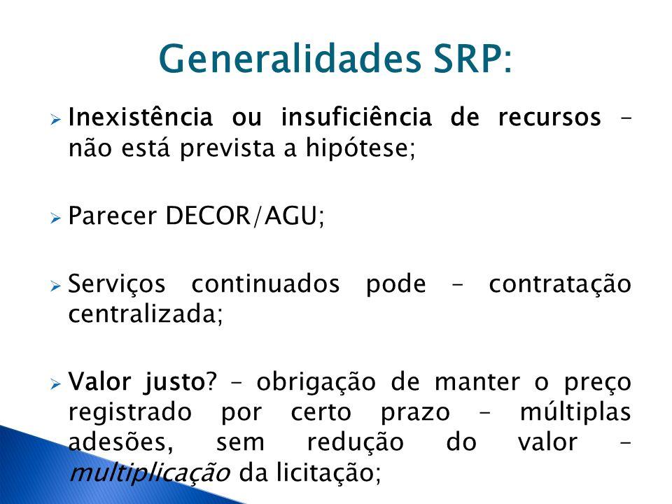 Generalidades SRP: Inexistência ou insuficiência de recursos – não está prevista a hipótese; Parecer DECOR/AGU;