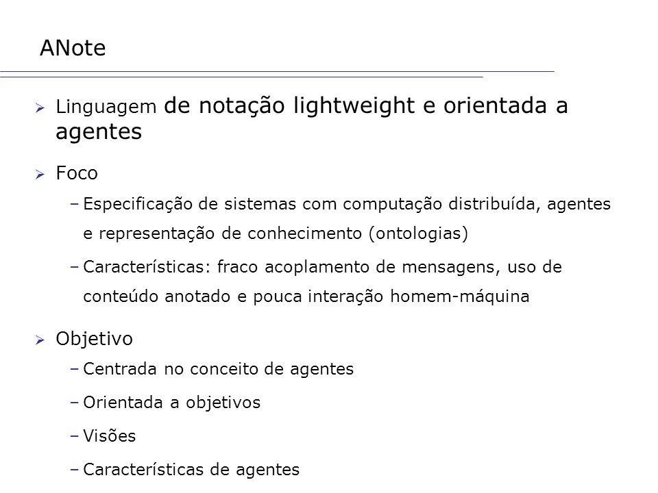 ANote Linguagem de notação lightweight e orientada a agentes Foco