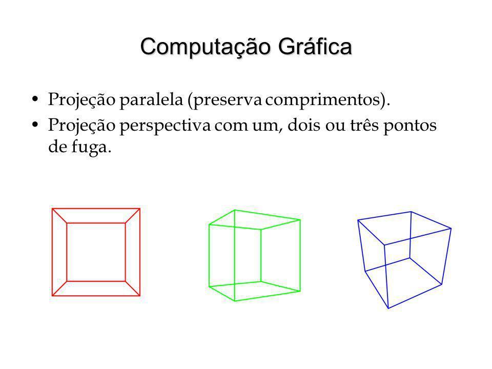 Computação Gráfica Projeção paralela (preserva comprimentos).