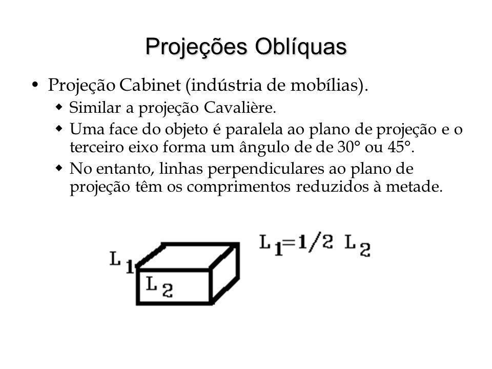 Projeções Oblíquas Projeção Cabinet (indústria de mobílias).