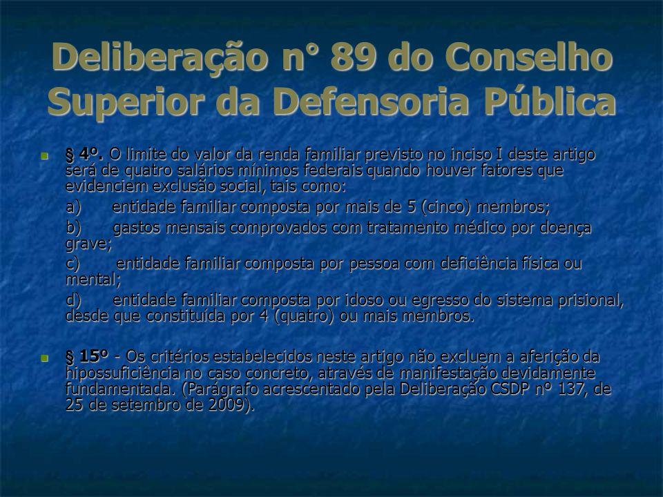 Deliberação n° 89 do Conselho Superior da Defensoria Pública