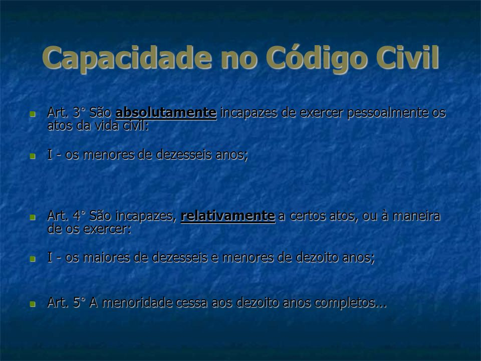Capacidade no Código Civil