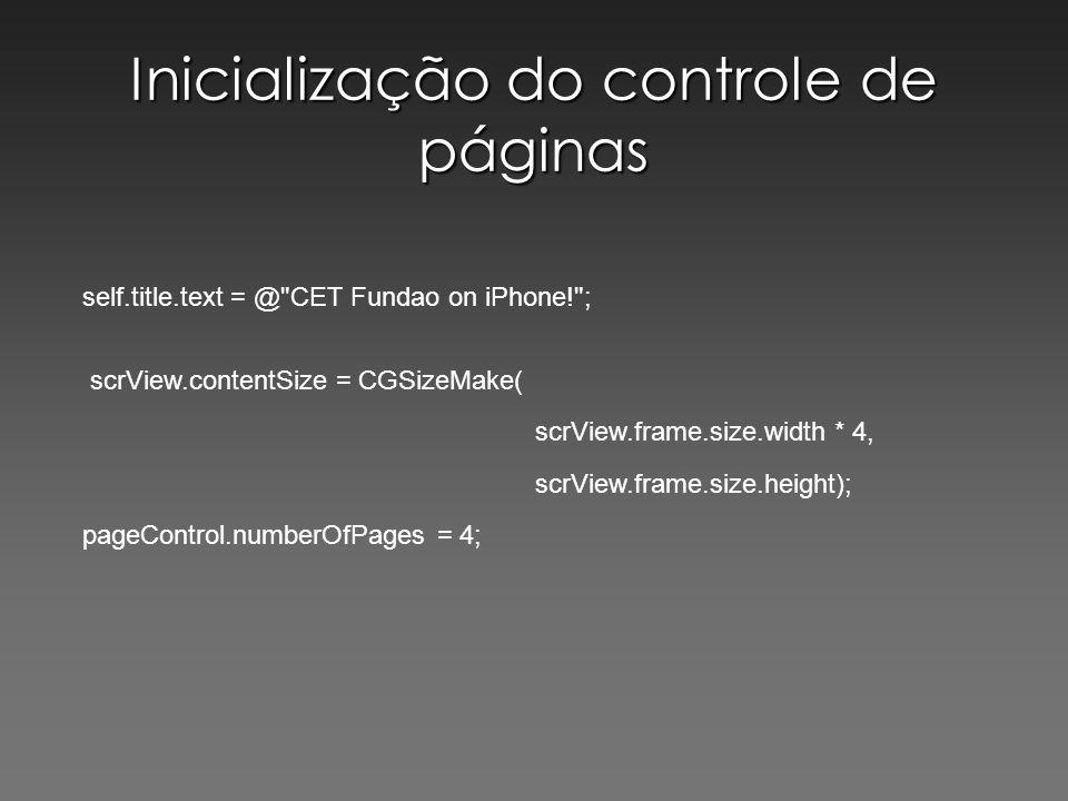 Inicialização do controle de páginas
