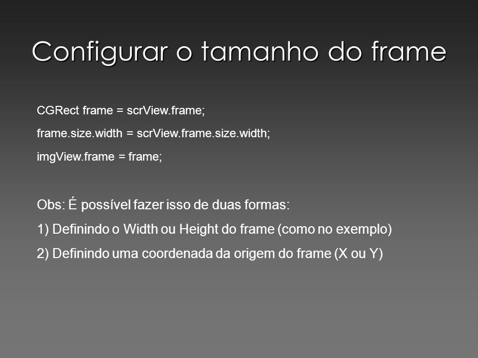 Configurar o tamanho do frame