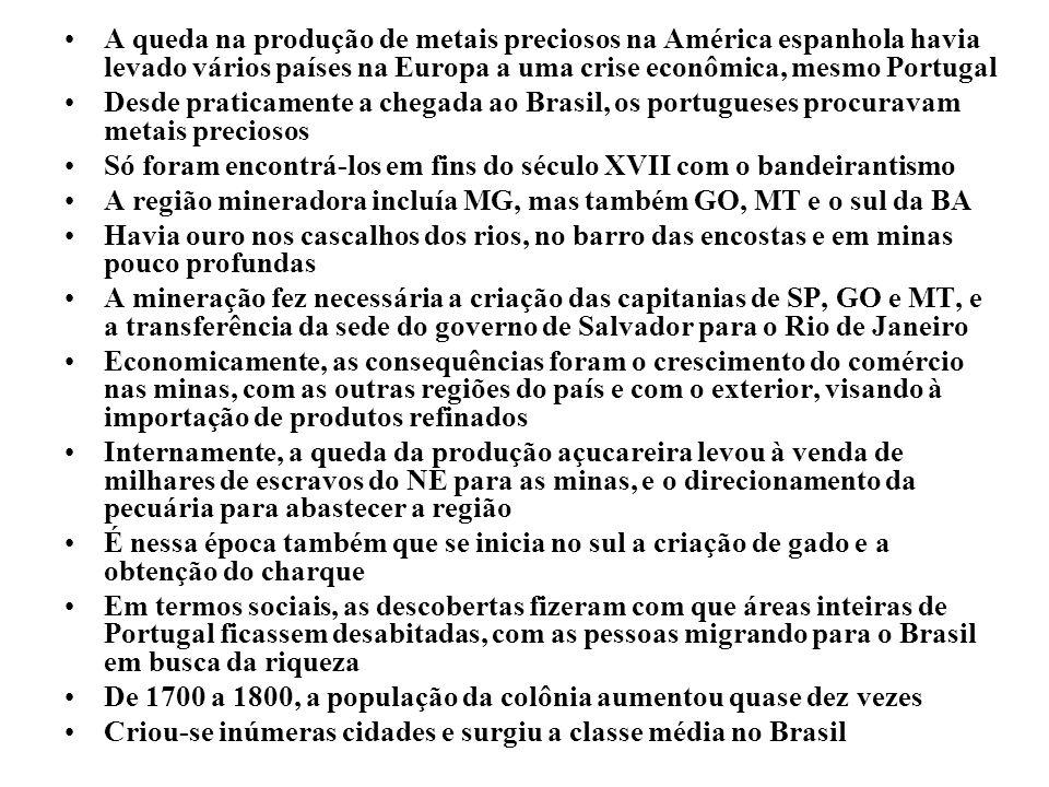 A queda na produção de metais preciosos na América espanhola havia levado vários países na Europa a uma crise econômica, mesmo Portugal