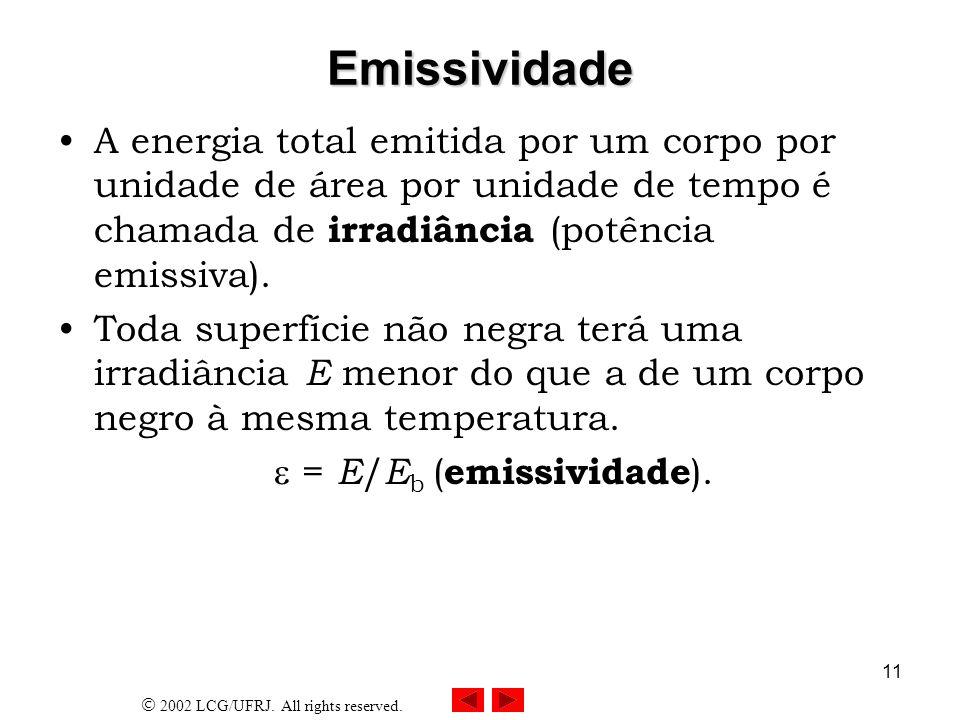 EmissividadeA energia total emitida por um corpo por unidade de área por unidade de tempo é chamada de irradiância (potência emissiva).