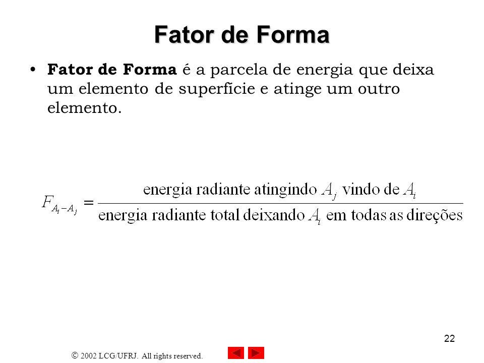 Fator de FormaFator de Forma é a parcela de energia que deixa um elemento de superfície e atinge um outro elemento.