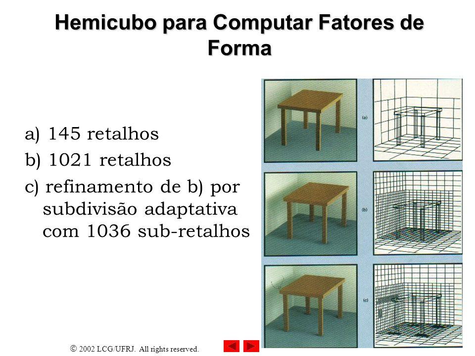 Hemicubo para Computar Fatores de Forma