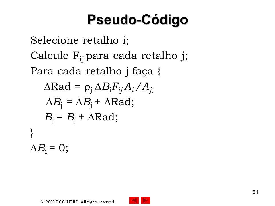 Pseudo-Código Selecione retalho i; Calcule Fij para cada retalho j;