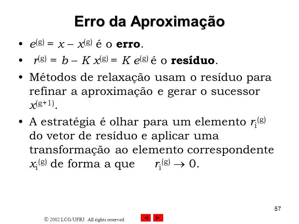 Erro da Aproximação e(g) = x – x(g) é o erro.