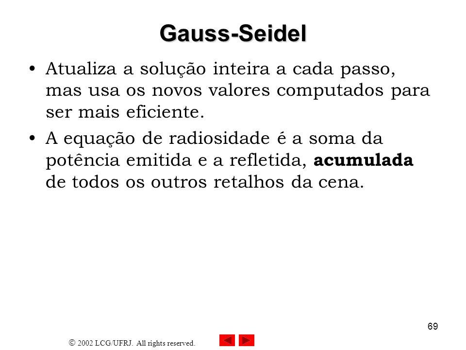 Gauss-Seidel Atualiza a solução inteira a cada passo, mas usa os novos valores computados para ser mais eficiente.