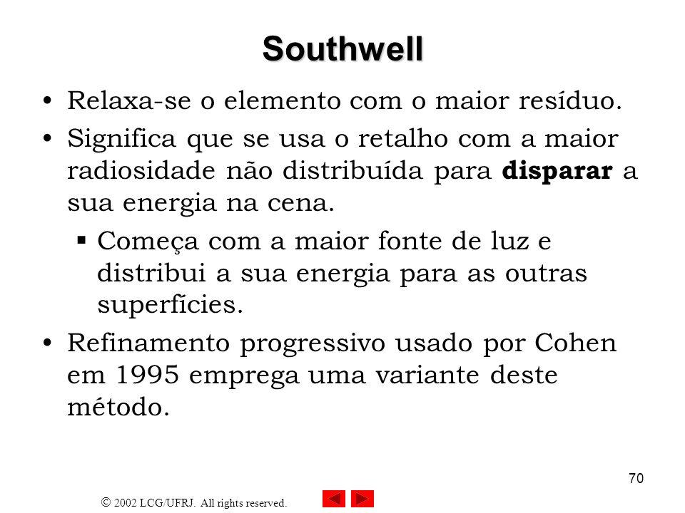 Southwell Relaxa-se o elemento com o maior resíduo.