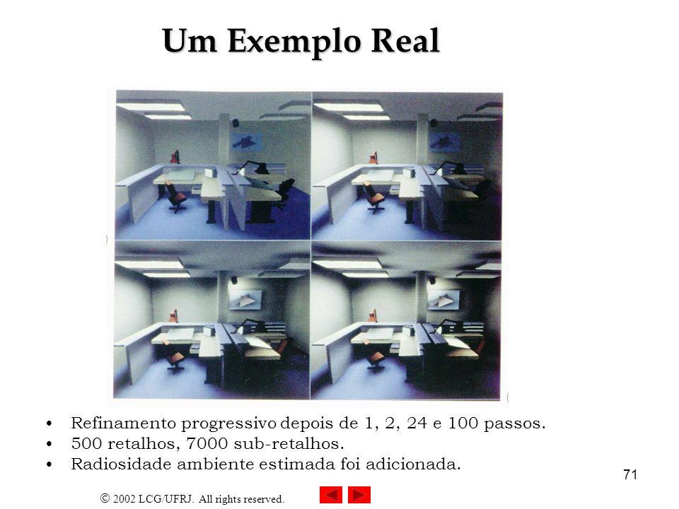 Um Exemplo RealRefinamento progressivo depois de 1, 2, 24 e 100 passos. 500 retalhos, 7000 sub-retalhos.