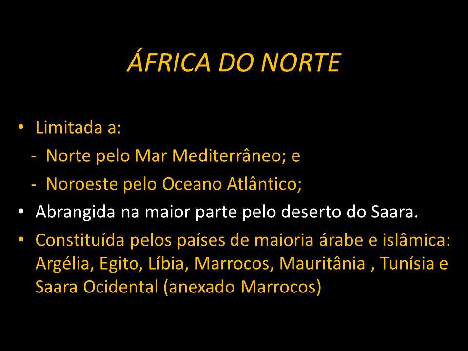 ÁFRICA DO NORTE Limitada a: - Norte pelo Mar Mediterrâneo; e