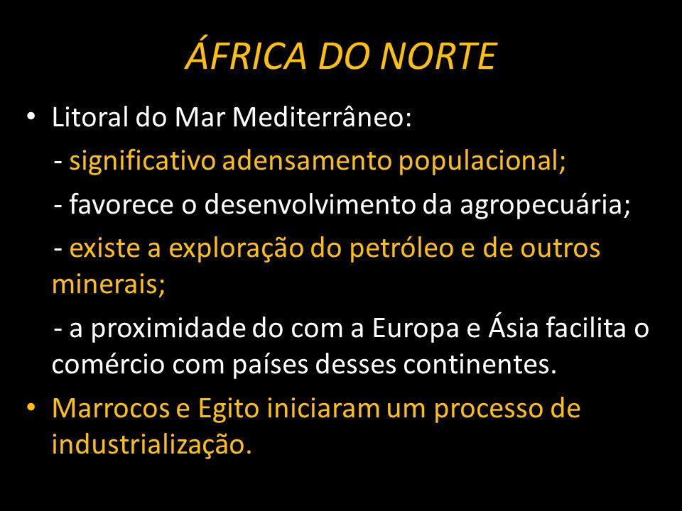 ÁFRICA DO NORTE Litoral do Mar Mediterrâneo:
