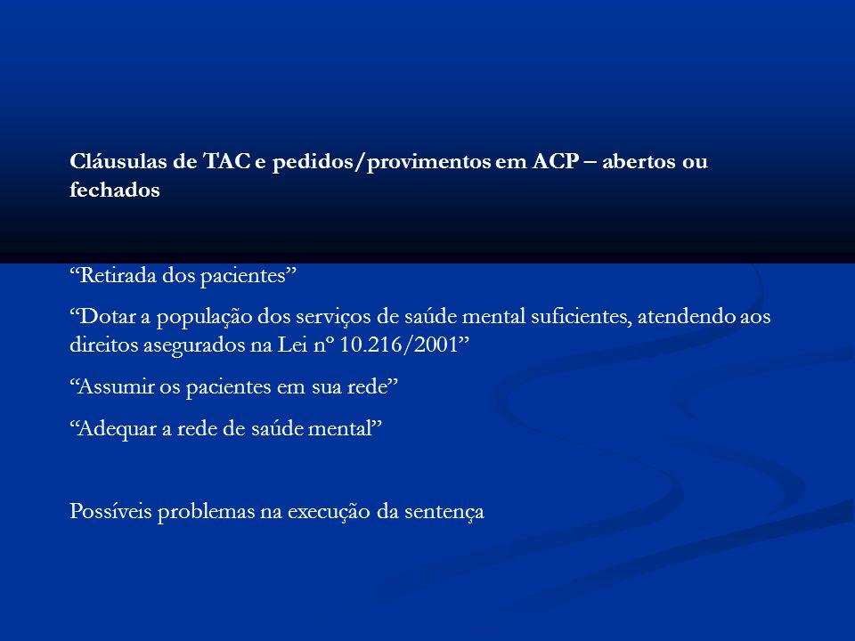 Cláusulas de TAC e pedidos/provimentos em ACP – abertos ou fechados