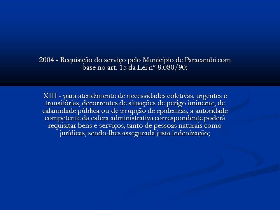 2004 - Requisição do serviço pelo Município de Paracambi com base no art. 15 da Lei nº 8.080/90: