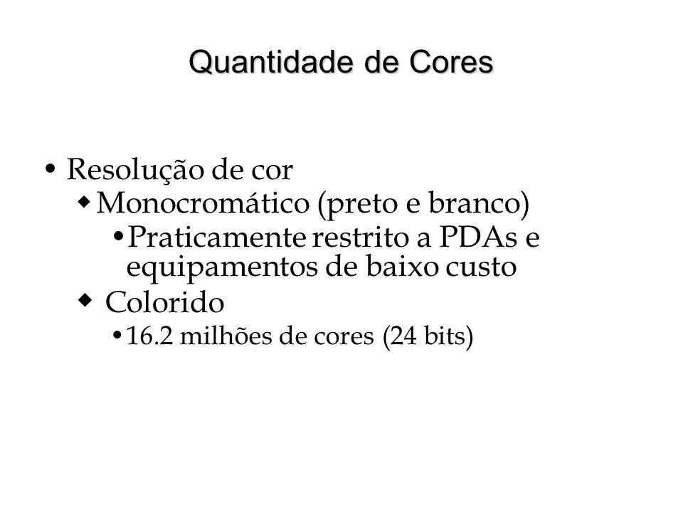 Colorido Quantidade de Cores Resolução de cor